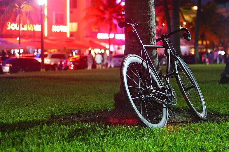 Bike in Park at Night