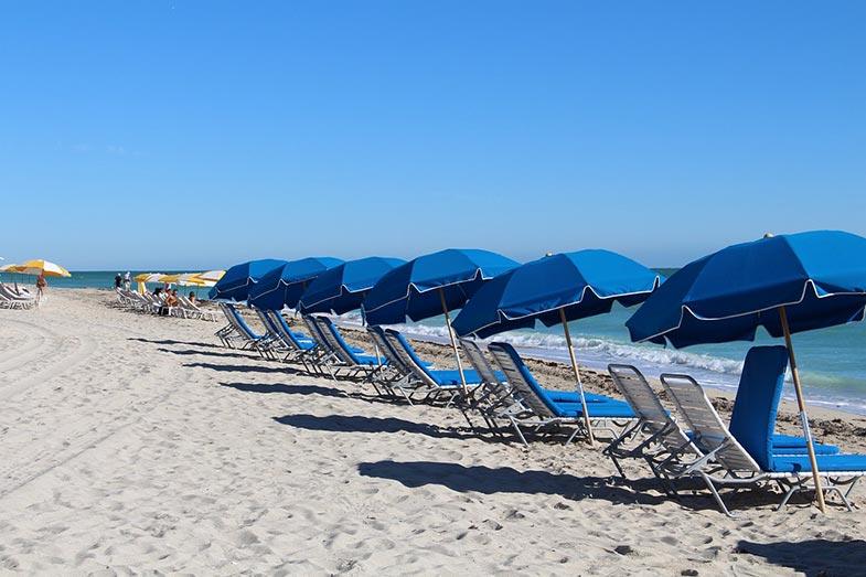 Miami Beach, Florida, Blue Umbrellas