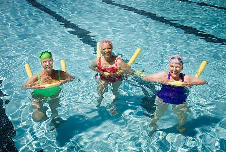 Senior Women Swimming in a Pool